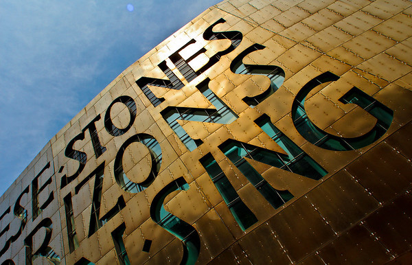 The giant letters across the front of the Wales Millennium Centre in Cardiff, Wales.