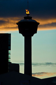 The torch atop the Calgary Tower only burns a few times a year, including during the Calgary Stampede.