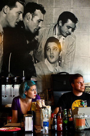 An oversize photo of the Million Dollar Quartet hangs on the wall in the gift shop at Sun Studio in Memphis.